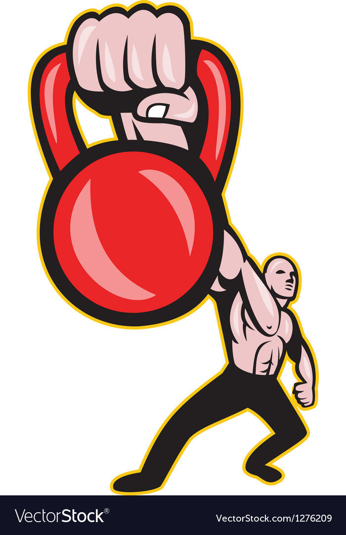 Crossfit training lifting kettlebell front vector | Price: 1 Credit (USD $1)