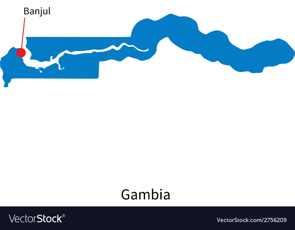 Detailed map of gambia and capital city banjul vector | Price: 1 Credit (USD $1)