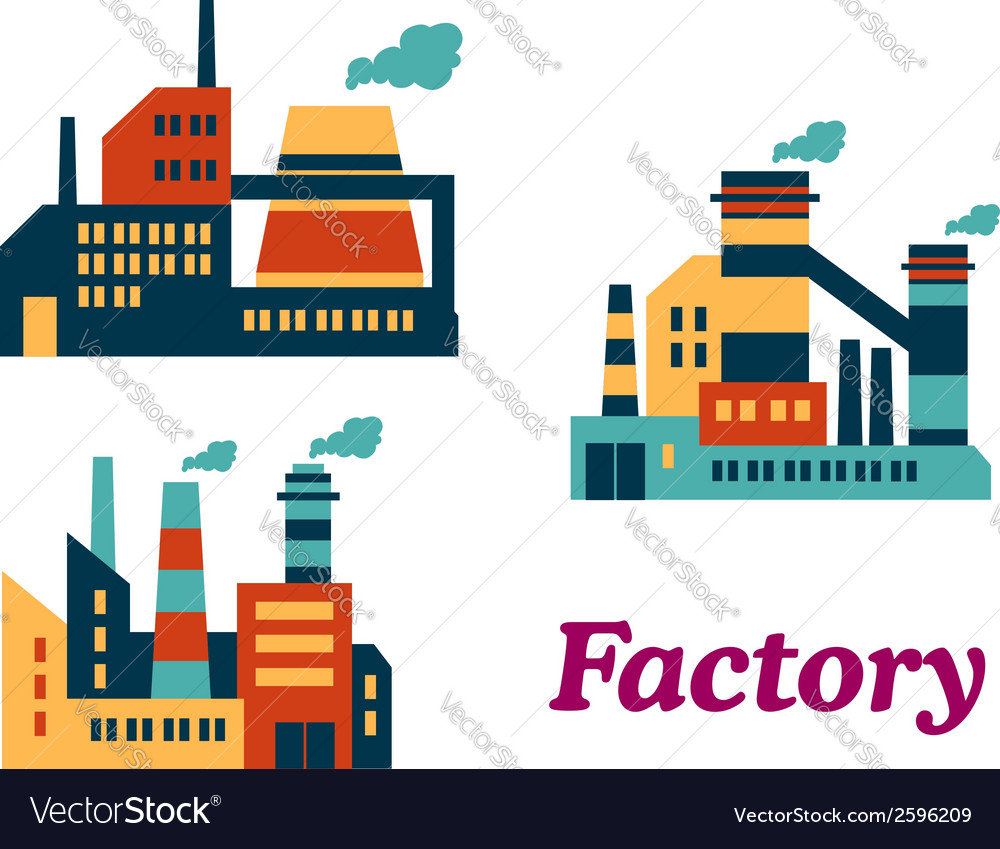 Flat factories icons vector | Price: 1 Credit (USD $1)