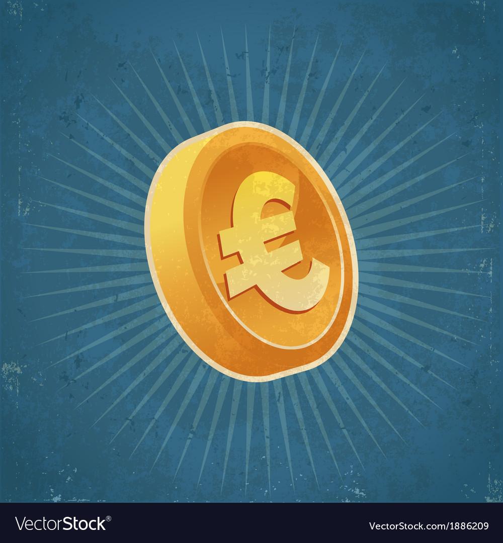 Retro gold euro coin vector   Price: 1 Credit (USD $1)