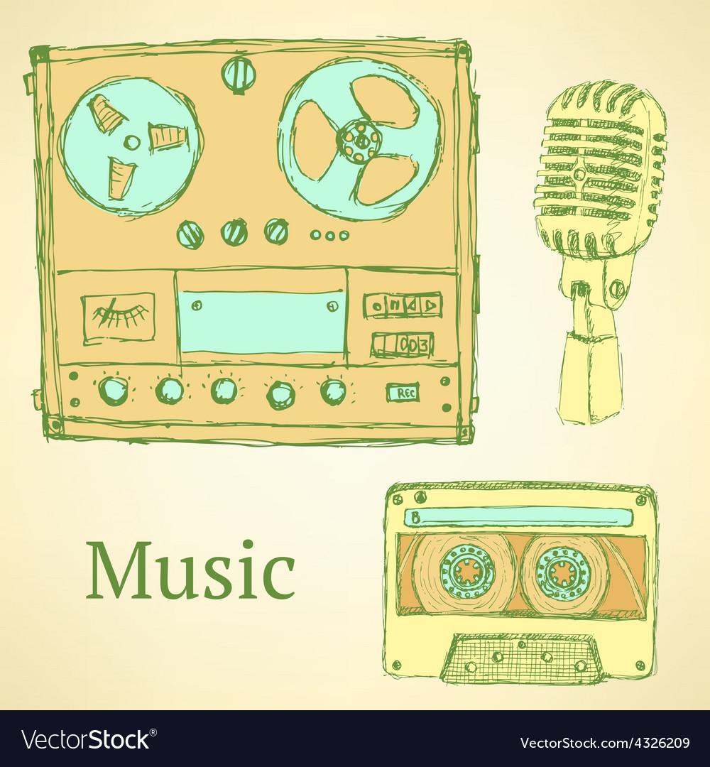 Sketch musical set in vintage style vector | Price: 1 Credit (USD $1)