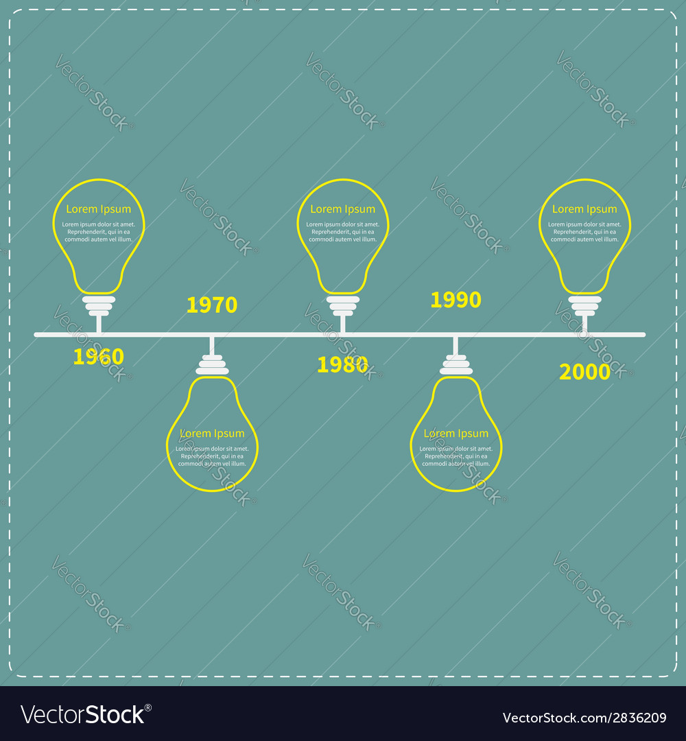 Timeline infographic with yellow light idea bulb vector | Price: 1 Credit (USD $1)