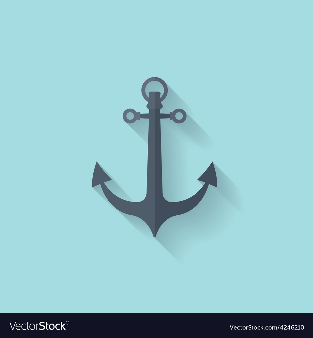 Anchor flat web icon vector | Price: 1 Credit (USD $1)