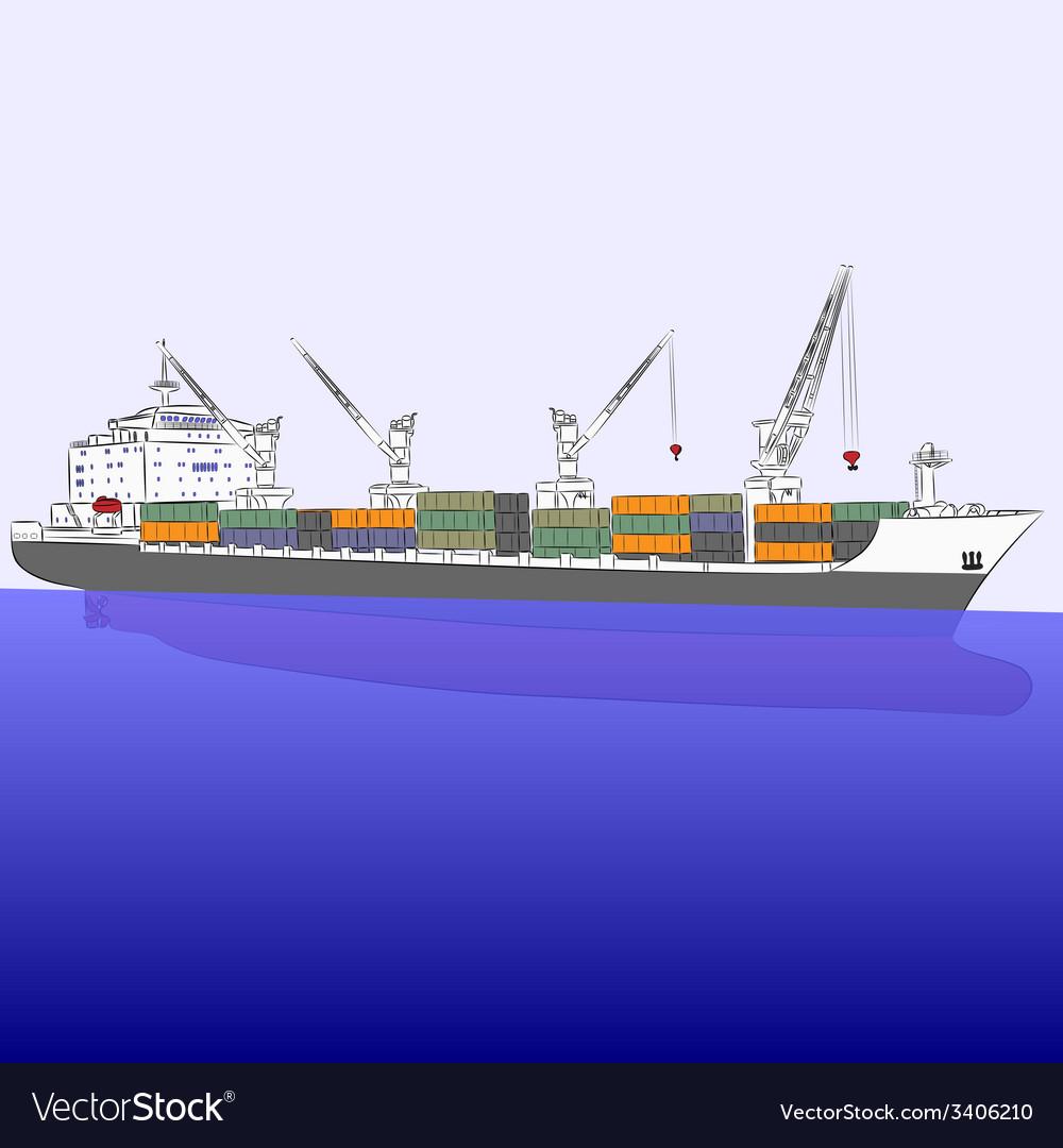Cargo ship vector | Price: 1 Credit (USD $1)