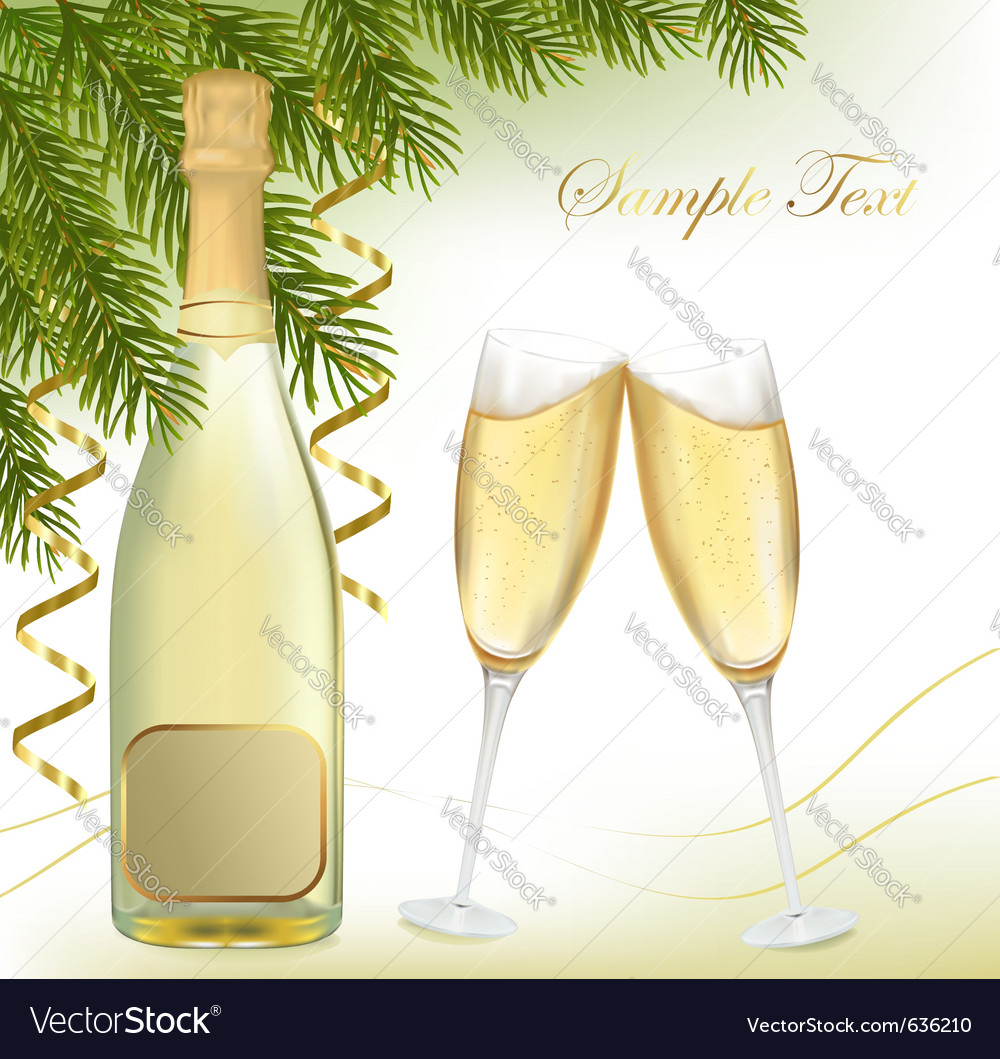 Champagne with bottle vector | Price: 1 Credit (USD $1)