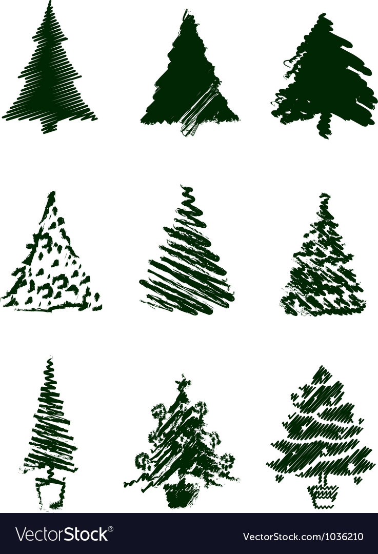 Christmas tree sketches vector