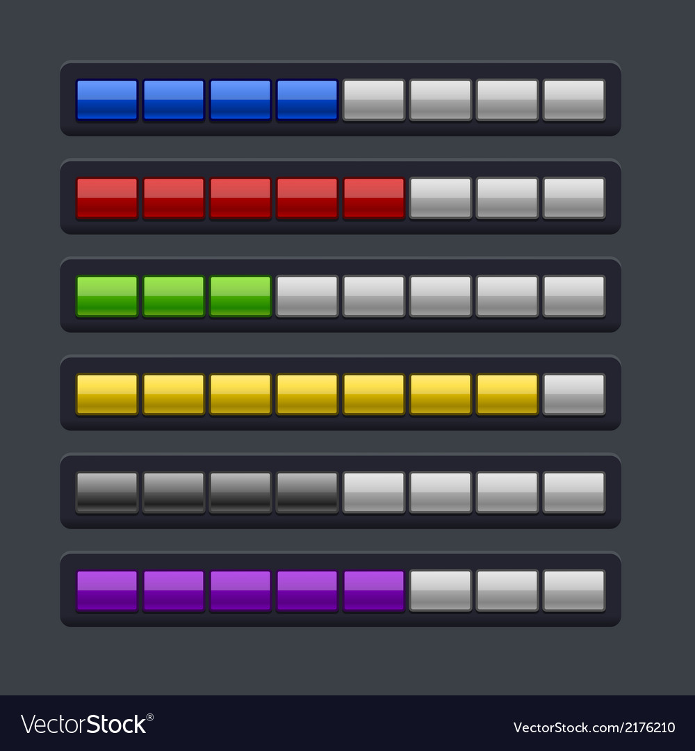 Color loading progress bar set vector | Price: 1 Credit (USD $1)