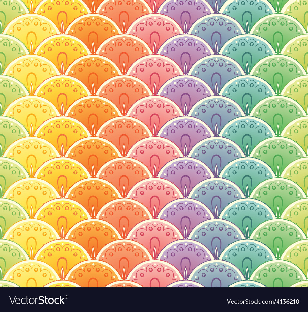Fan rainbow seamless pattern vector | Price: 1 Credit (USD $1)