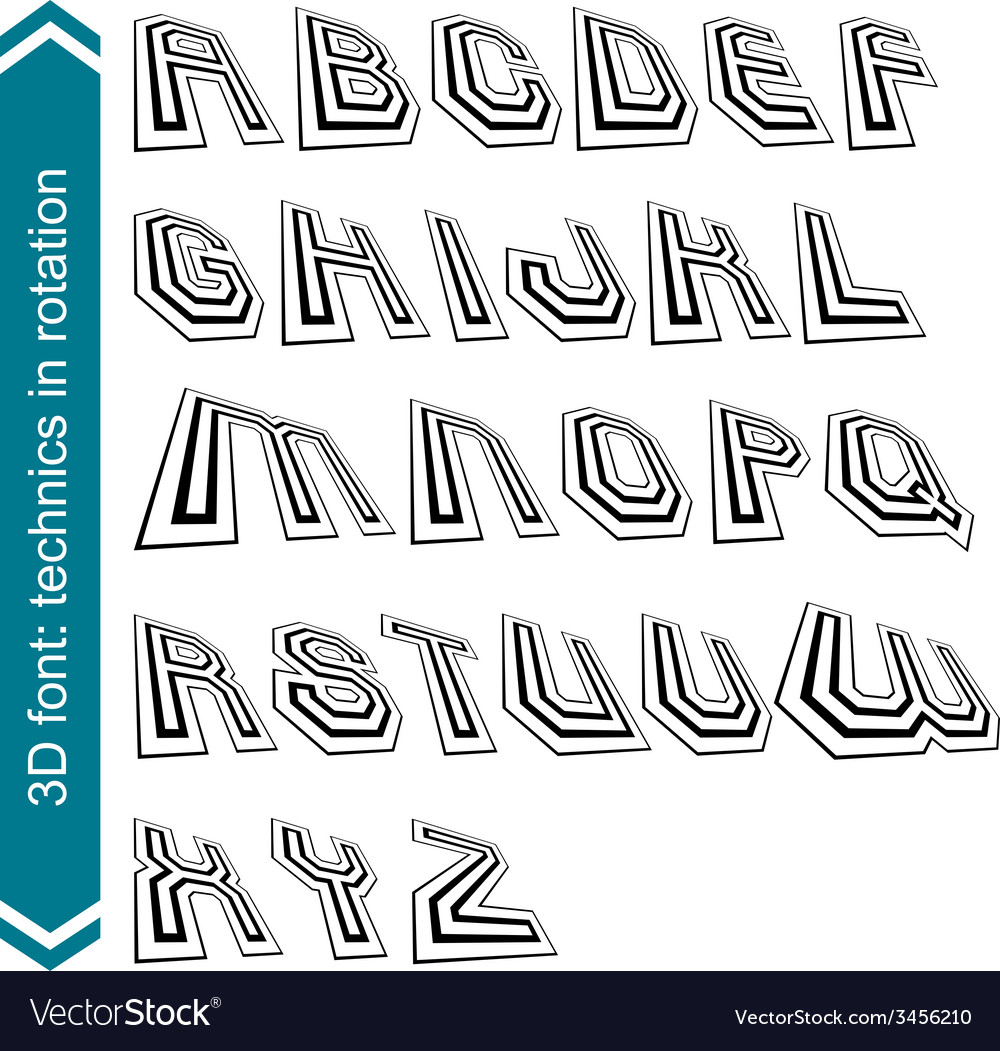 Geometric retro style graphic font in rotation vector | Price: 1 Credit (USD $1)
