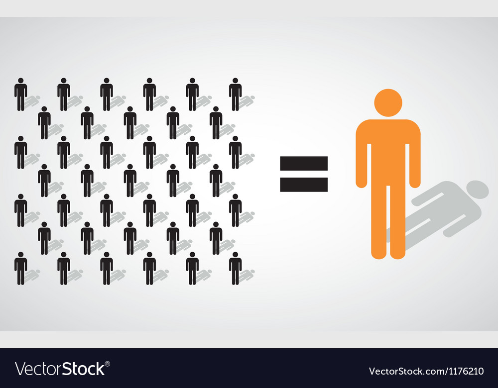 Many small people equal a big one vector | Price: 1 Credit (USD $1)
