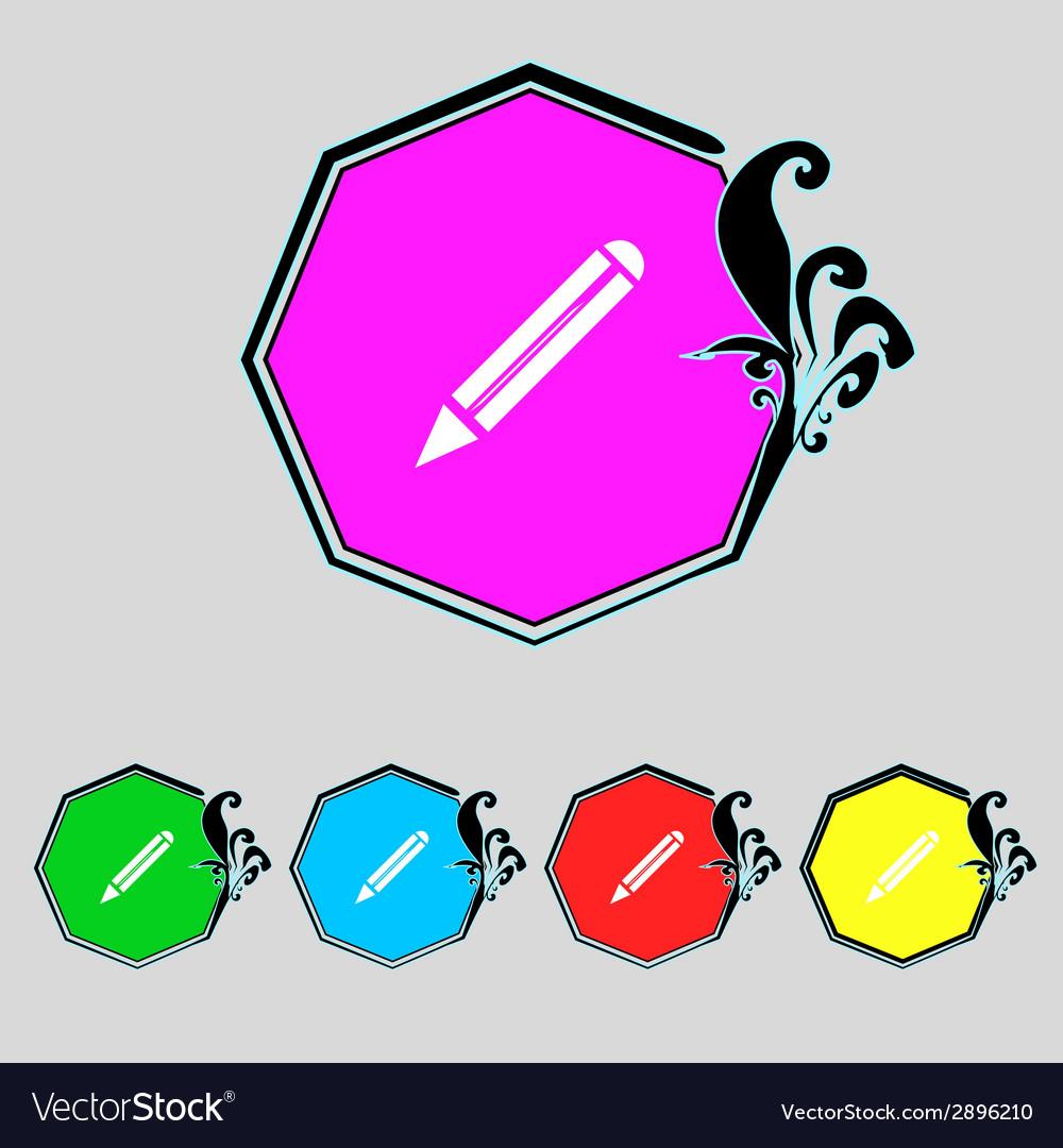 Pencil sign icon edit content button set colur vector | Price: 1 Credit (USD $1)