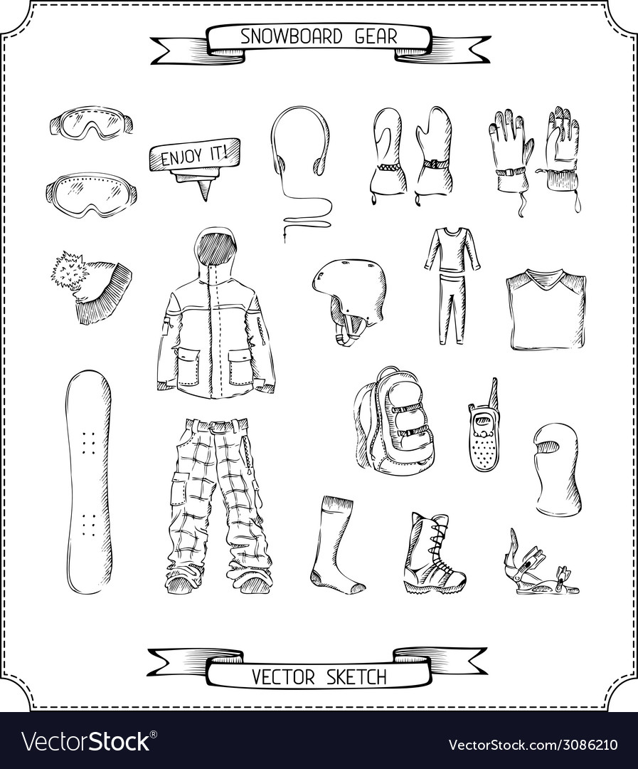 Pencil sketch of snowboard gear vector | Price: 1 Credit (USD $1)