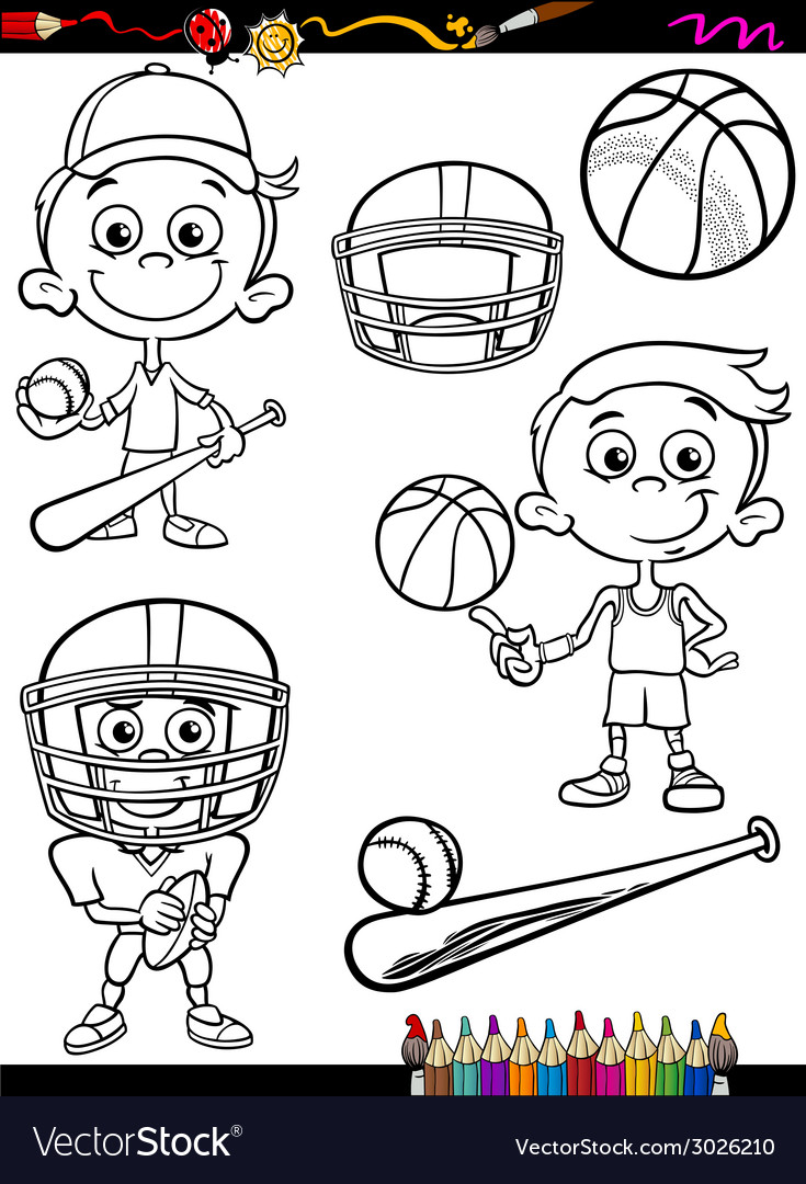 Sport boy set cartoon coloring page vector | Price: 1 Credit (USD $1)