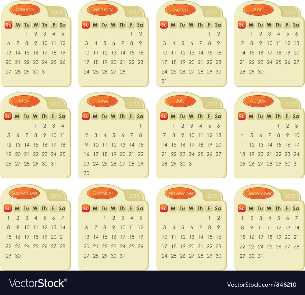 Tabbed 2013 calendar vector   Price: 1 Credit (USD $1)