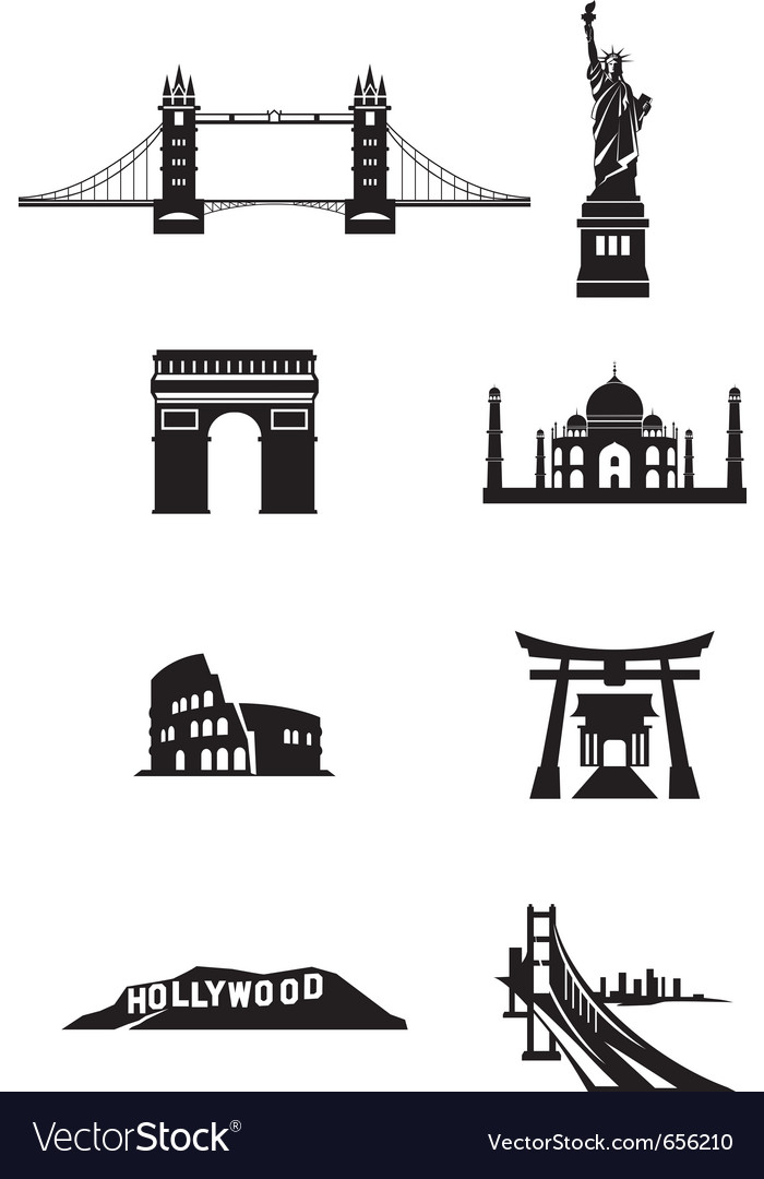 World landmark silhouettes vector | Price: 1 Credit (USD $1)