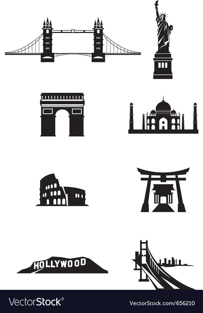 World landmark silhouettes vector | Price: 1 Credit (USD $1)