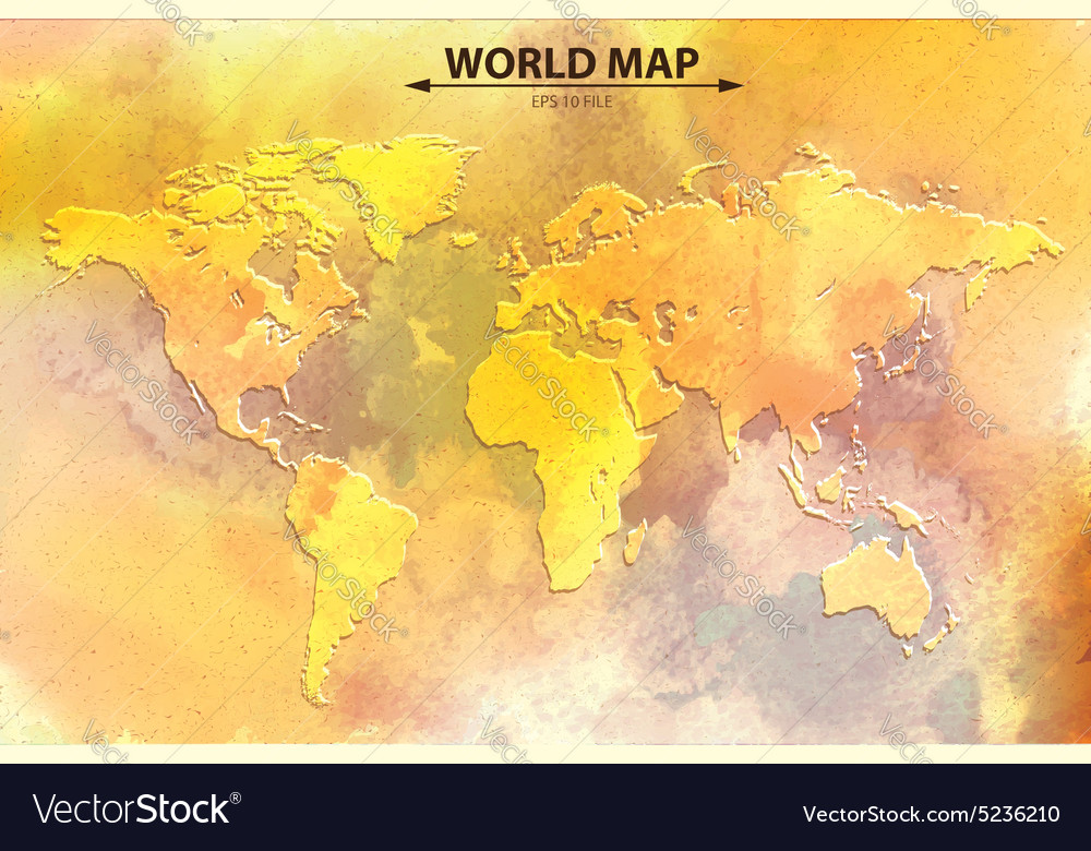 World map  watercolor art vector