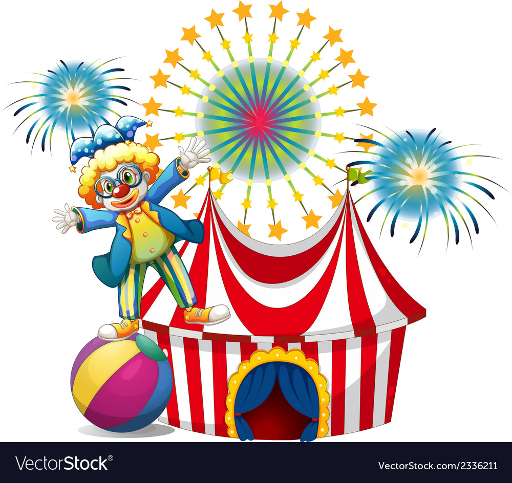 A male clown playing outside the tent vector | Price: 3 Credit (USD $3)
