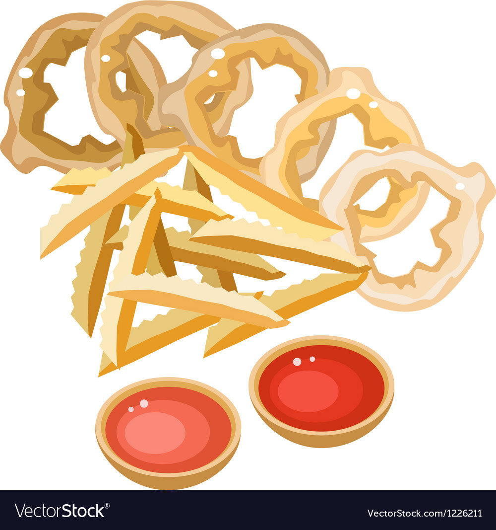 A pile of french fries and onion ring vector | Price: 3 Credit (USD $3)