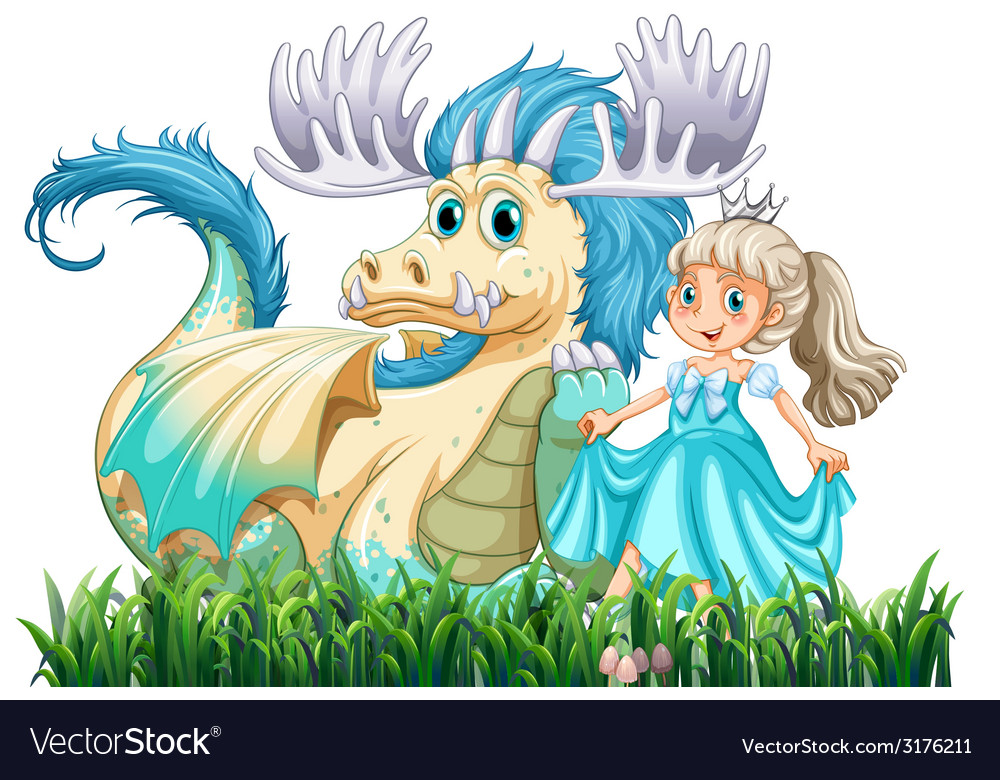 Dragon and princess vector | Price: 1 Credit (USD $1)