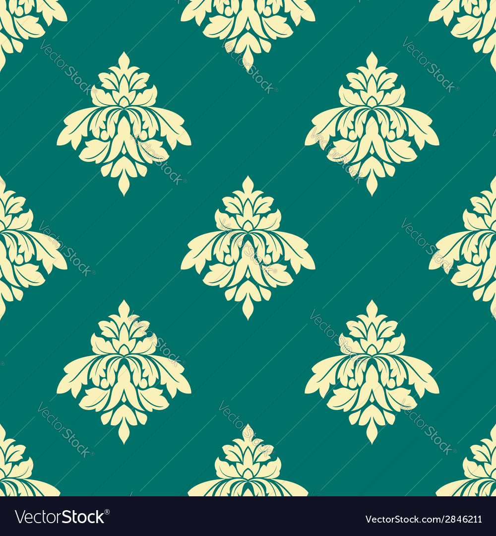 Floral beige damask seamless pattern on green vector | Price: 1 Credit (USD $1)
