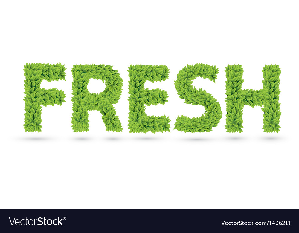 Fresh text of green leaves vector | Price: 1 Credit (USD $1)