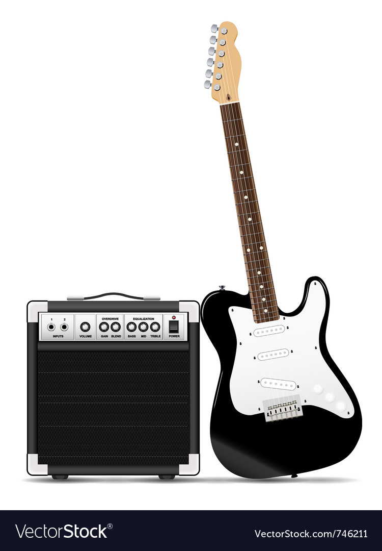 Guitar with amp vector | Price: 1 Credit (USD $1)