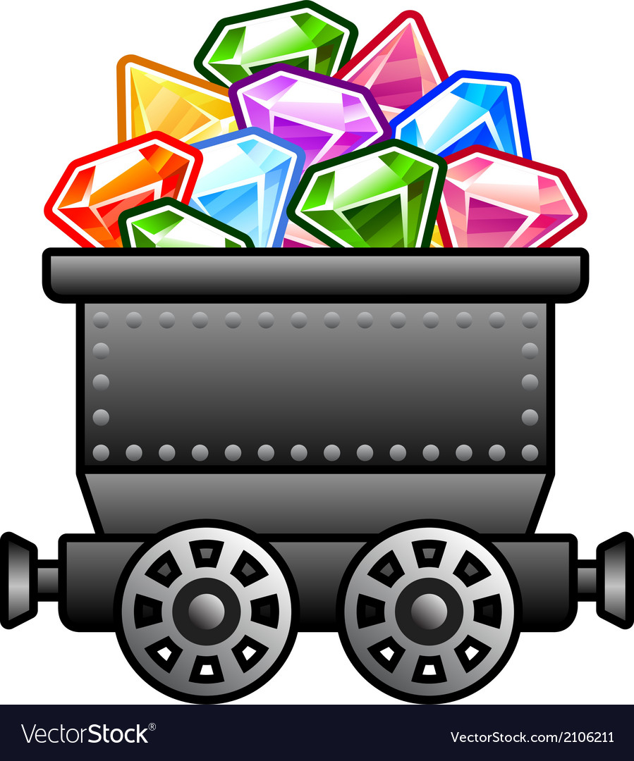 Iron mine cart with diamonds vector | Price: 1 Credit (USD $1)