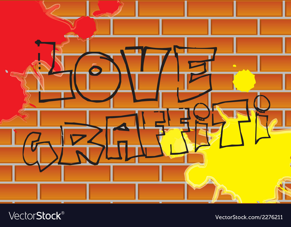Love graffiti with paint over bricks background vector | Price: 1 Credit (USD $1)
