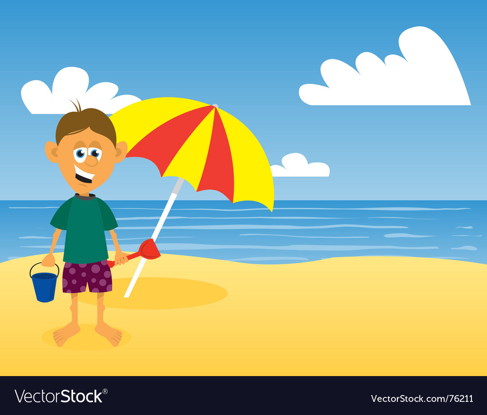 Man at beach vector | Price: 1 Credit (USD $1)