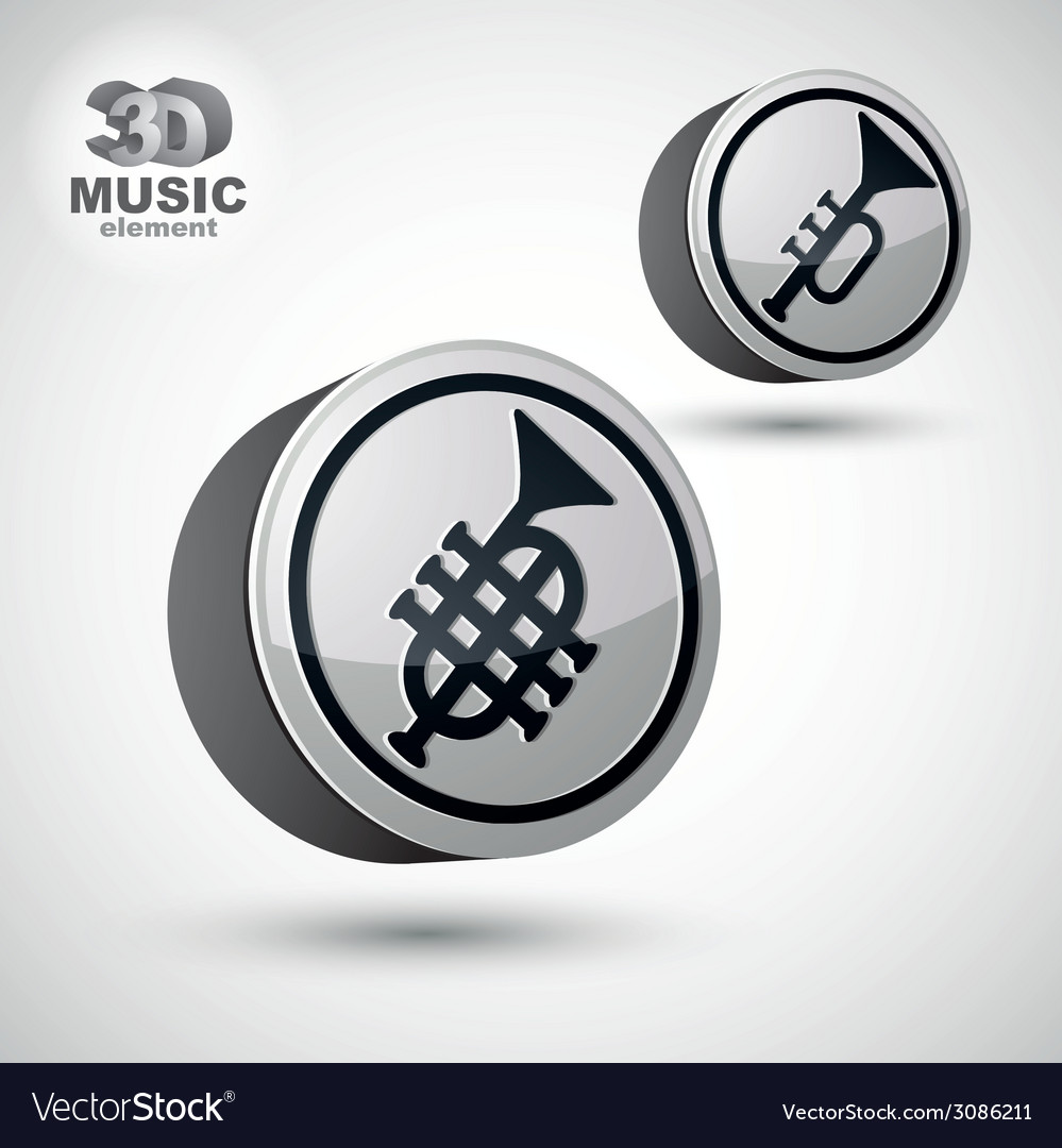 Music pipe icon isolated 3d music theme design vector | Price: 1 Credit (USD $1)
