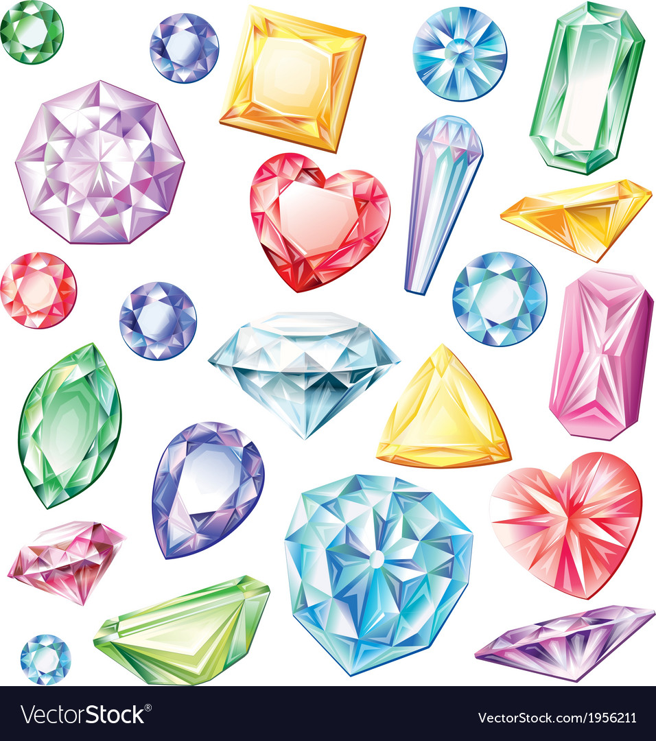 Set of precious stones of different cuts and vector | Price: 1 Credit (USD $1)