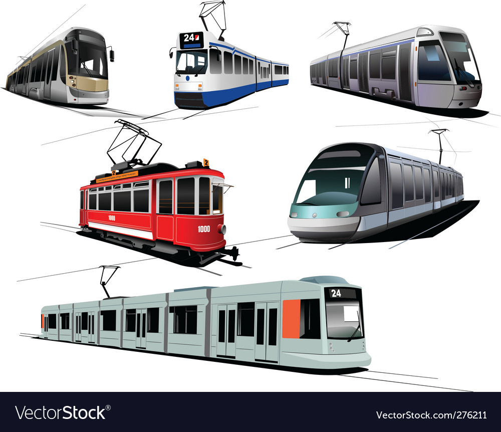 Six trams vector | Price: 1 Credit (USD $1)