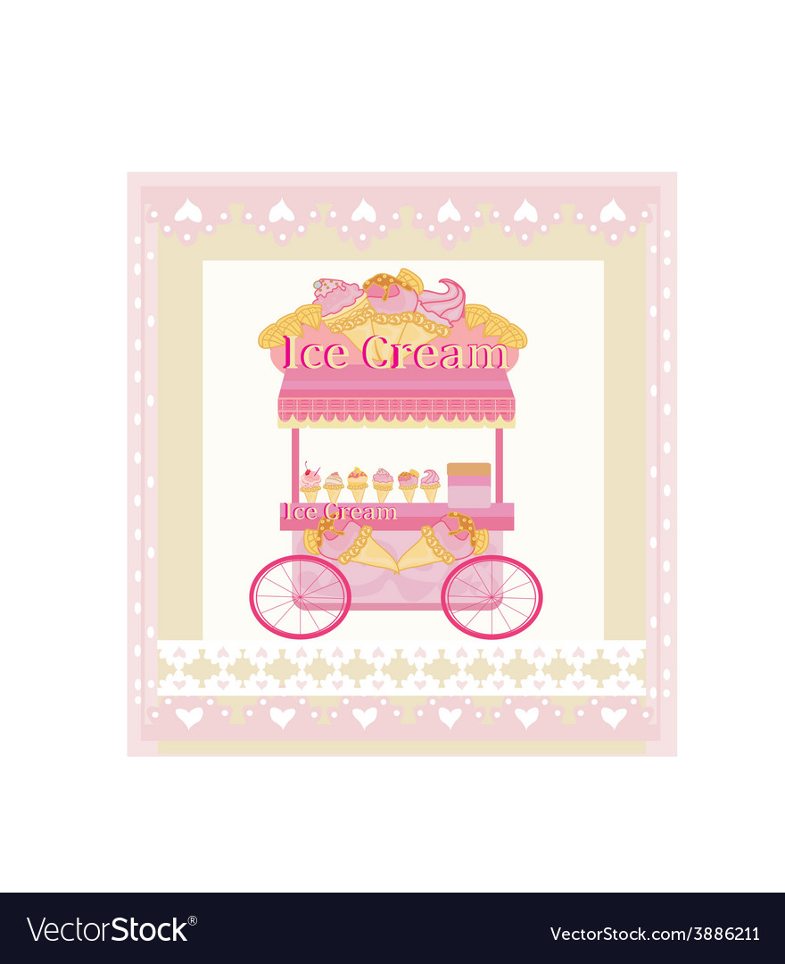Vendor ice cream mobile booth abstract card vector | Price: 1 Credit (USD $1)