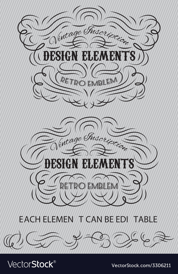 Vintage calligraphic elements of templates vector | Price: 1 Credit (USD $1)