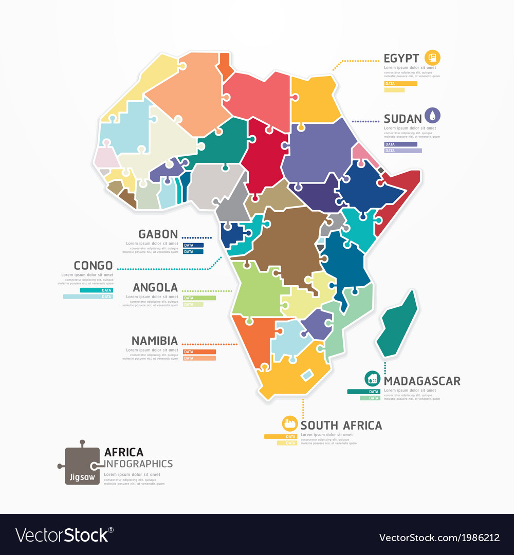 Africa infographic map template jigsaw concept vector | Price: 1 Credit (USD $1)