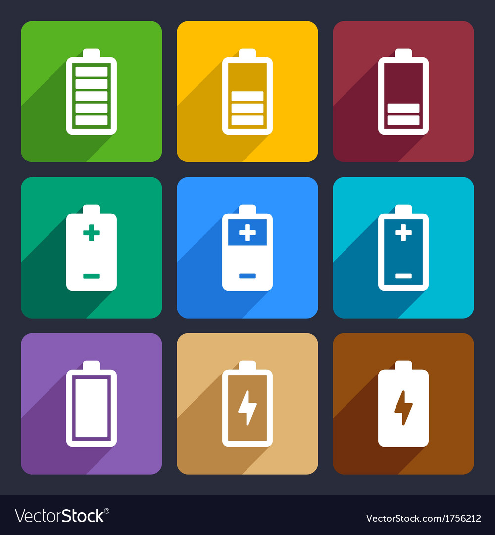 Battery flat icons set 22 vector | Price: 1 Credit (USD $1)