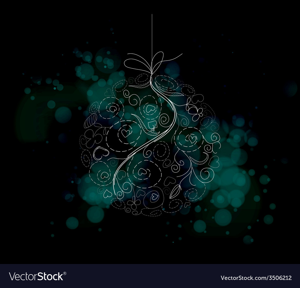 Christmas floral ball light background vector