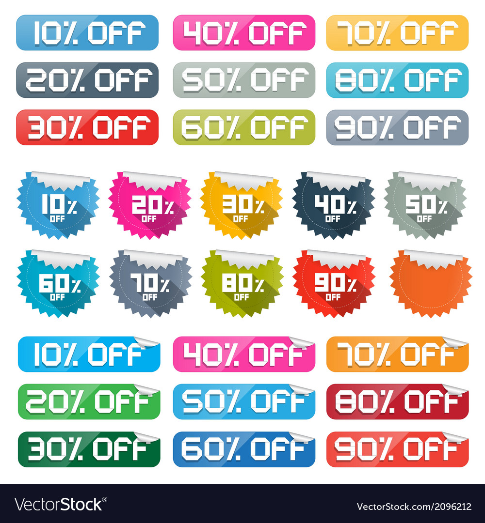 Colorful discount stickers labels set on white vector | Price: 1 Credit (USD $1)