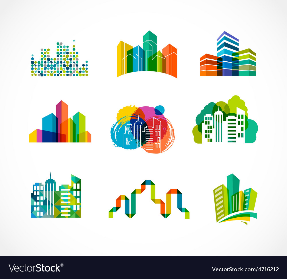 Colorful real estate city and skyline icons vector | Price: 1 Credit (USD $1)