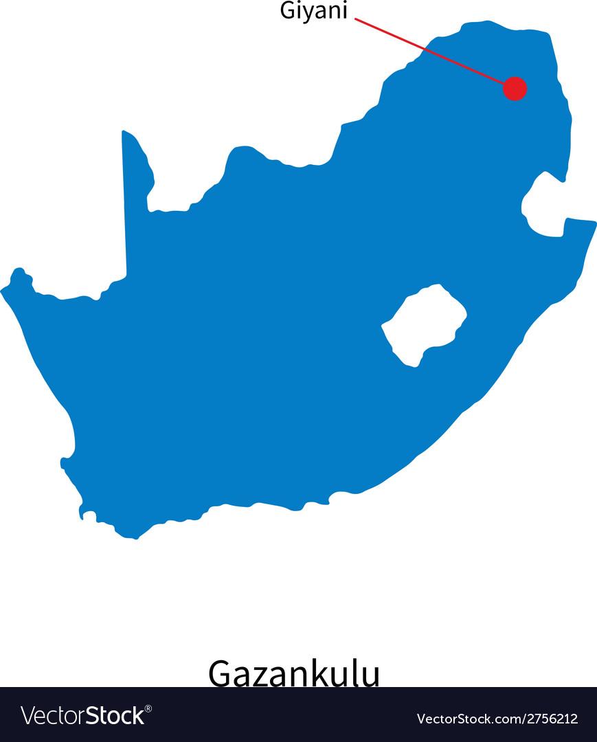 Detailed map of gazankulu and capital city giyani vector | Price: 1 Credit (USD $1)