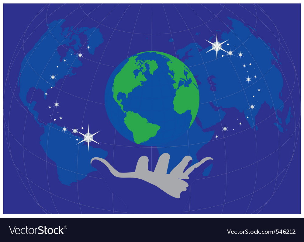 Globe in the palm vector | Price: 1 Credit (USD $1)