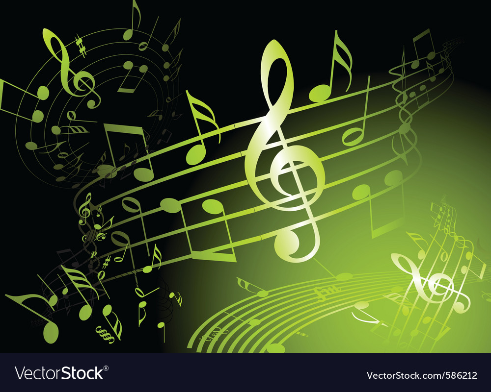 Green music theme vector | Price: 1 Credit (USD $1)