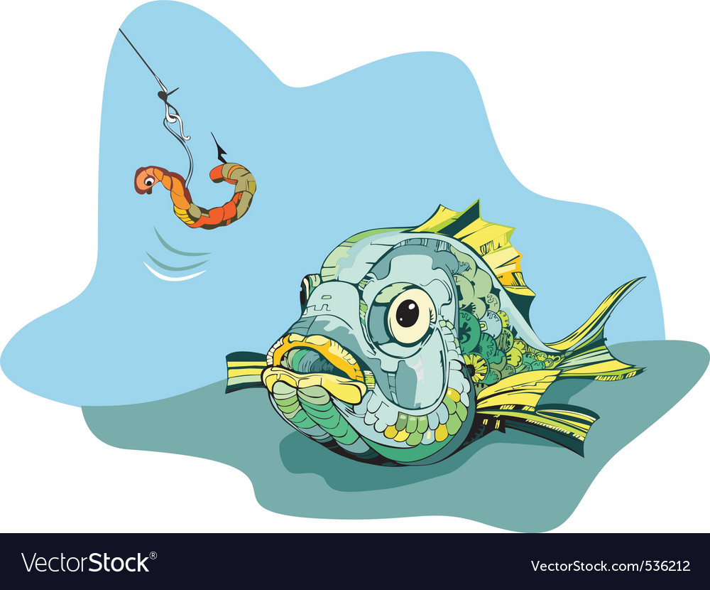 Hungry fish hunts a worm vector | Price: 1 Credit (USD $1)