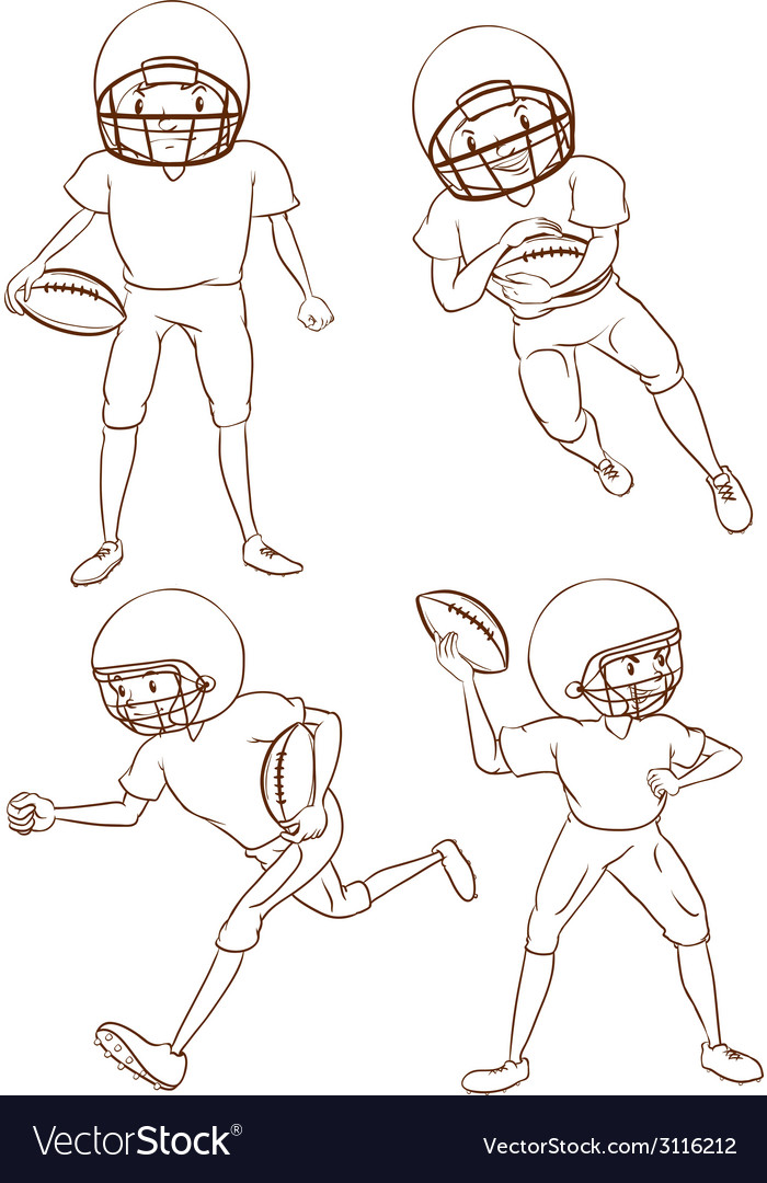 Plain sketches of the american football players vector | Price: 1 Credit (USD $1)