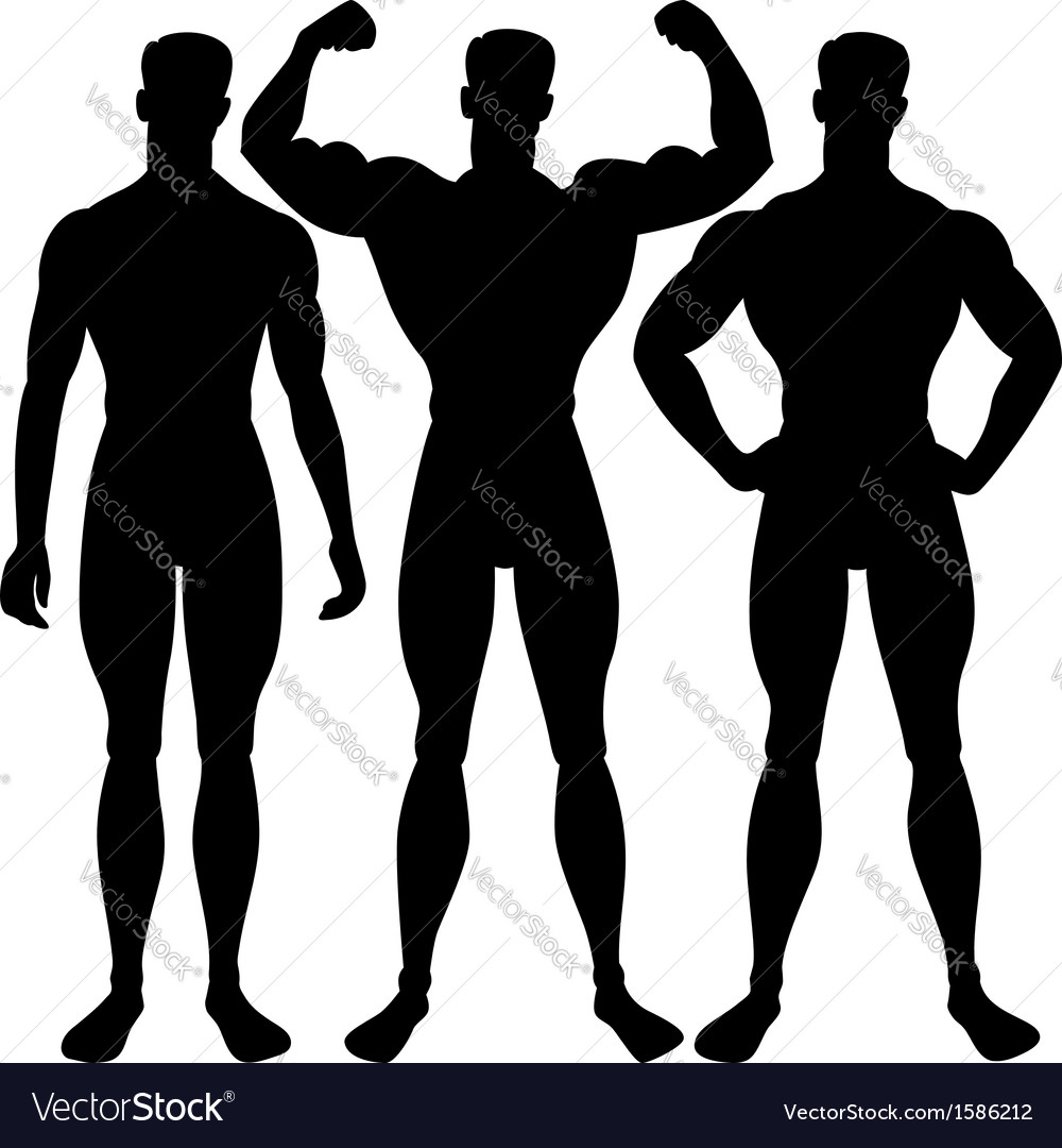Set athletic man silhouette in different poses vector | Price: 1 Credit (USD $1)