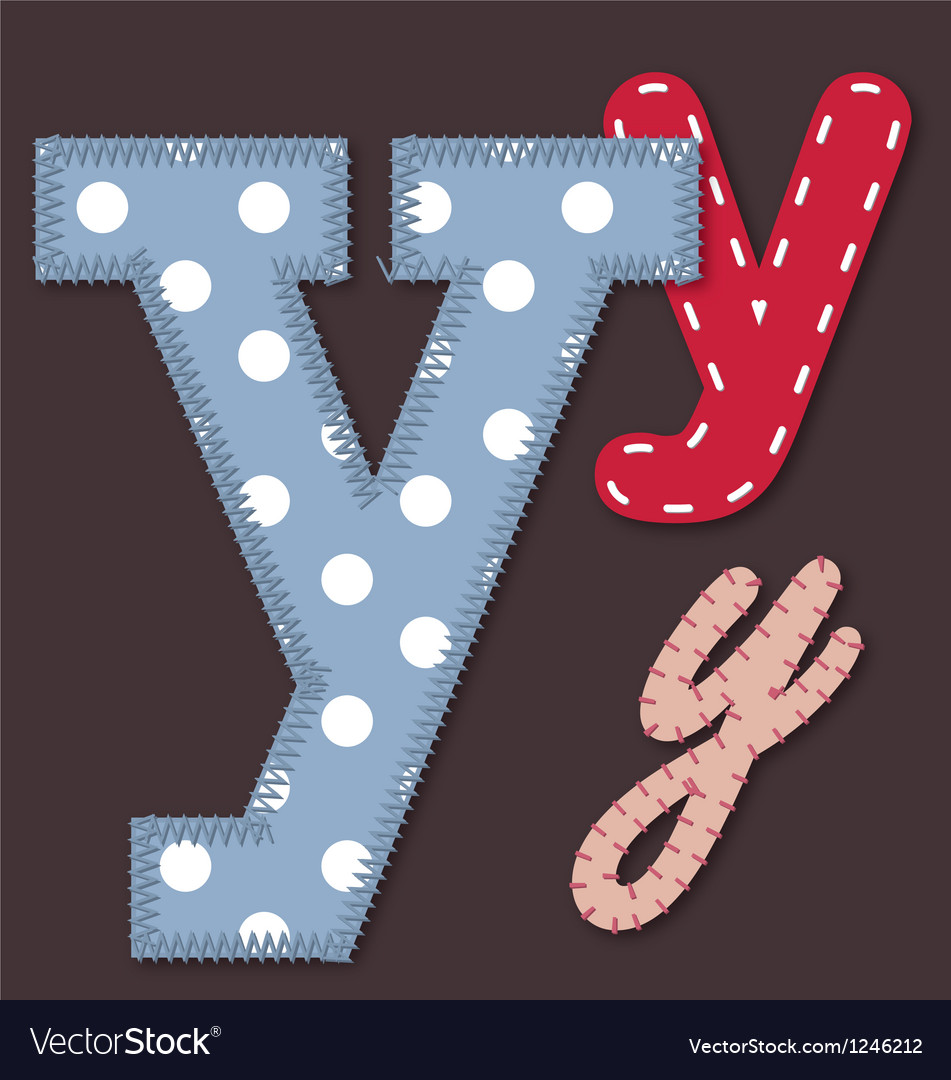 Set of stitched font - letter y vector | Price: 1 Credit (USD $1)
