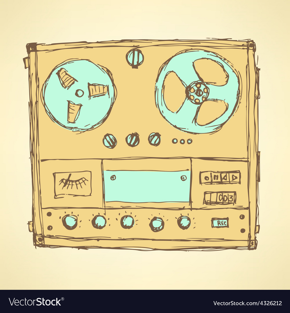 Sketch analog recorder vector | Price: 1 Credit (USD $1)