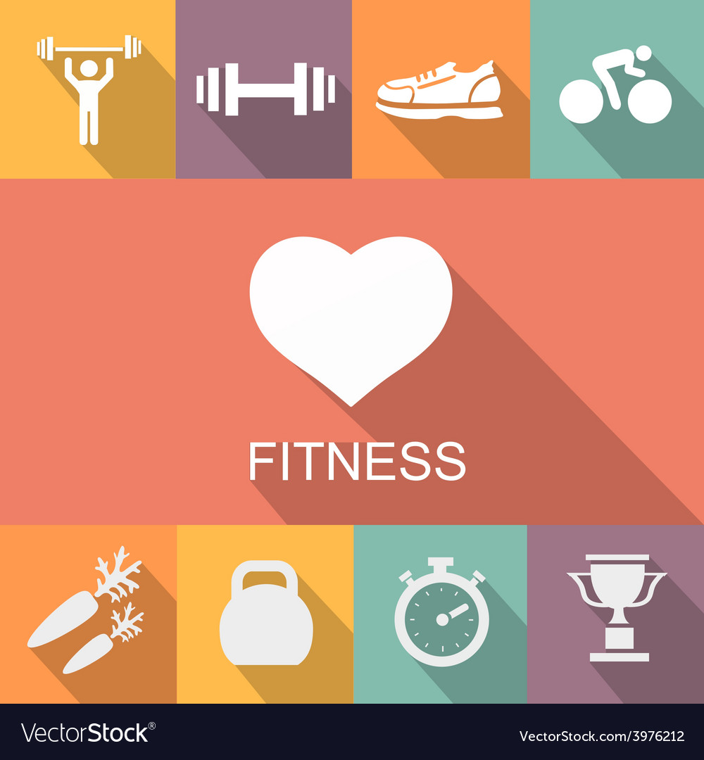 Sports background with fitness icons in flat vector | Price: 1 Credit (USD $1)