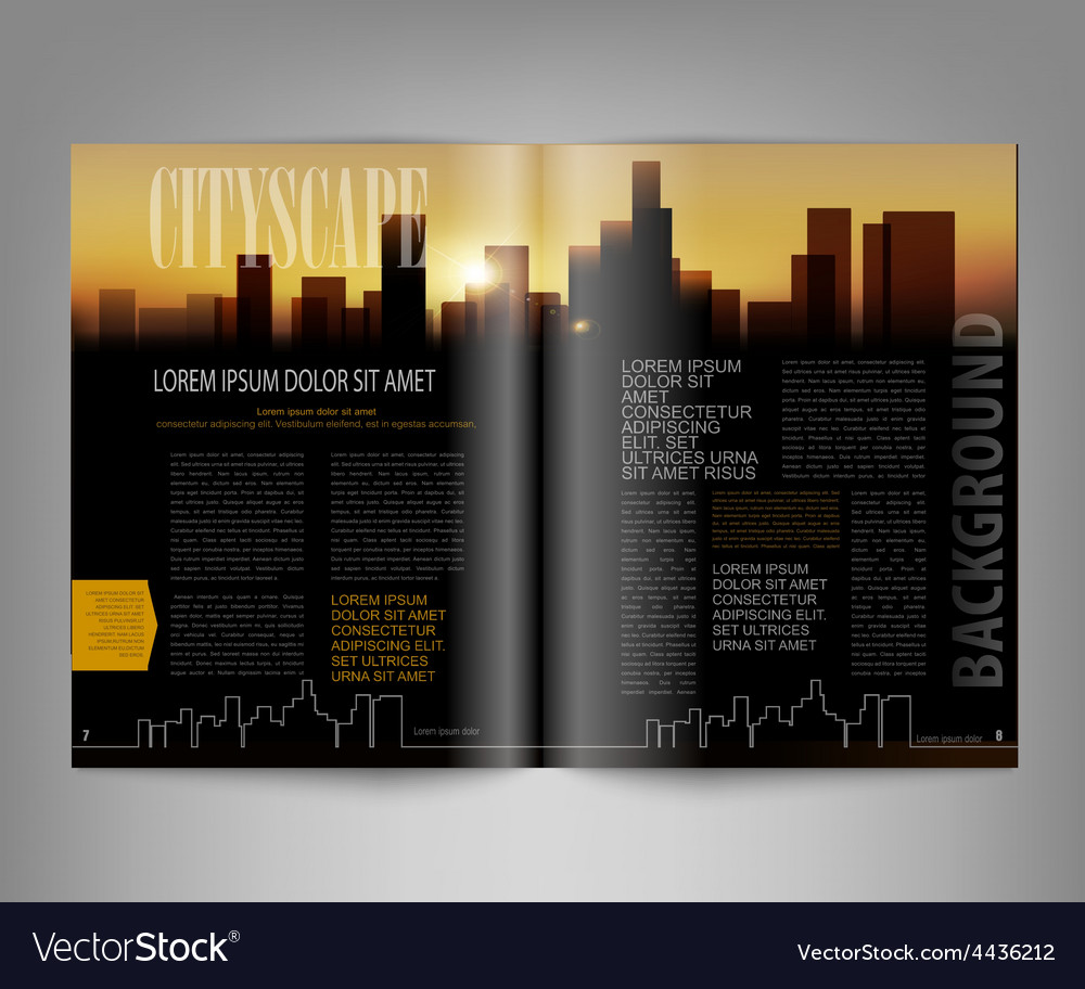 Template print edition of the magazine with night vector | Price: 1 Credit (USD $1)